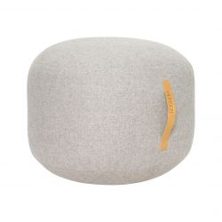 Pouf with Leather Strap | Grey