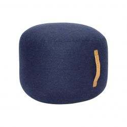 Pouf with Leather Strap | Blue
