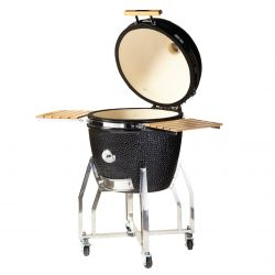 Charcoal Ceramic Barbecue with Frame and Side Table 22''