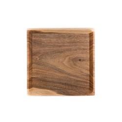 Serving Plate Oste Square High | Warm Walnut & Black Granite