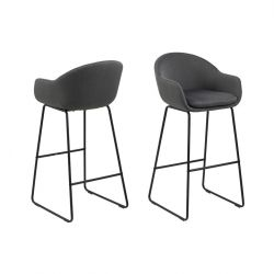 Set of 2 Bar Stools Ellie | Dark Grey / Metal