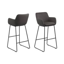 Bar Stool Asier | Set of 2 | Dark Grey