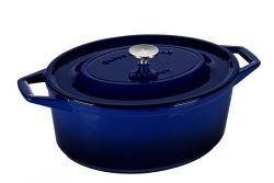 Casserole | Cast Iron | Oval 34 cm | Blue
