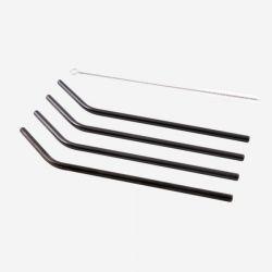 Strohhalme aus Edelstahl mit Reinigungsbürste 4er-Set | Schwarz