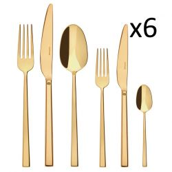 Cutlery Set of 36 Pieces Rock | Stainless Steel Gold