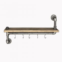 Pipe Shelf with 5 Metal Hooks