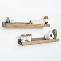 Set of 2 Wall Shelves Aa073 | Walnut