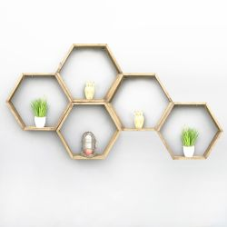5-er Set Wandregale Hex | Holz