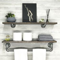 Set of 2 Pipe Shelves | Walnut