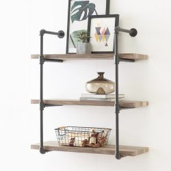 Shelf with Pipe Boruraf139 | Walnut & Black