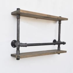 Shelf with Pipe Boruraf173 | Walnut & Black