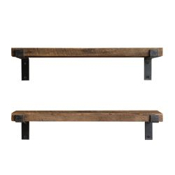 Set of 2 Wall Shelves LAM004 | Walnut & Black