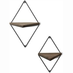Set of 2 Wall Shelves WR043 | Walnut & Black