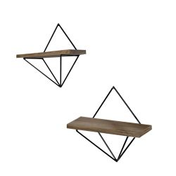 Set of 2 Wall Shelves WR046 | Walnut & Black