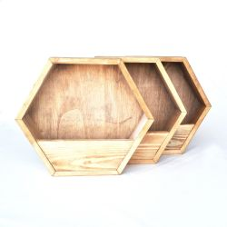 Set of 3 Decorative Shelves | Spruce Wood