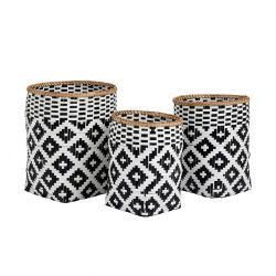 Round Bamboo Basket H 46 cm | Set of 3 | Black & White