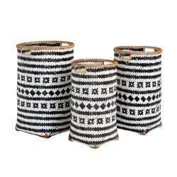 Round Bamboo Basket H 60 cm | Set of 3 | Black & White