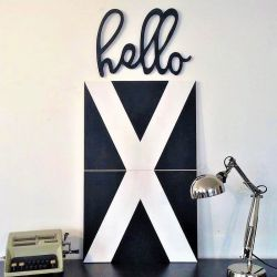 Decorative Wooden Wall Accessory Hello | Black