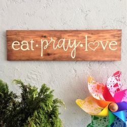 Decorative Wooden Wall Accessory Eat Pray Love | Light Walnut