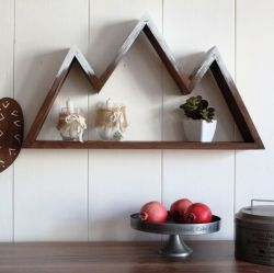 Decorative Wooden Wall Accessory Snowy Mountain  | Walnut