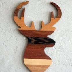 Decorative Wooden Wall Accessory Wood Deer | Brown