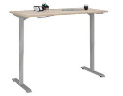 Verstellbarer Computertisch   Metall Platingrau und Eiche Sonoma