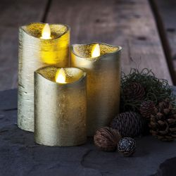 Led Candle Sara Set of 3 | Gold