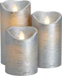 Led Candle Sara Set of 3 | Silver