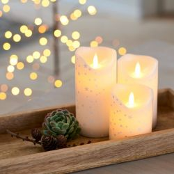 Led Candle Sara Set of 3 | Romantic Gold