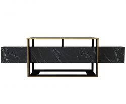 Tv Stand Bianco | Black / Gold