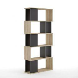 Bücherschrank mit 5 Asymmetrischen Regalböden | Schwarz & Eiche