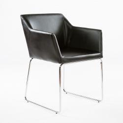 2er-Set Esszimmerstühle Norwich | Schwarz und verchromte Beine