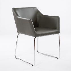 2er-Set Esszimmerstühle Norwich | Grau und verchromte Beine