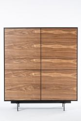 4 Doors and 2 Drawers Cabinet Siviglia | Dark Walnut & Matt Black