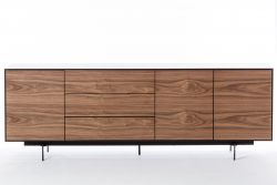 Cabinet 3 Doors and 3 Drawers Siviglia | Dark Walnut & Matt Black