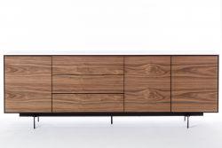 Schrank 3 Türen und 3 Schubladen Siviglia | Nussbaum dunkel & Mattschwarz