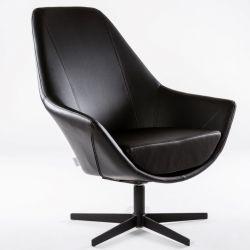 Turning Armchair Ravenna | Black Leather Look