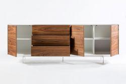3 Türen und 3 Schubladenschrank Siviglia | Nussbaum dunkel & Mattweiß