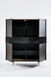 4 Doors and 2 Drawers Cabinet Siviglia | Matt Black & Dark Walnut
