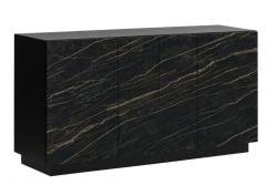 Sideboard 4 Türen Gorizia | Dunkler Marmor & Schwarz
