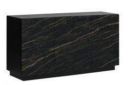 Sideboard 4 Doors Gorizia | Dark Marble & Black