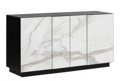 Sideboard 4 Türen Gorizia | Heller Marmor & Schwarz