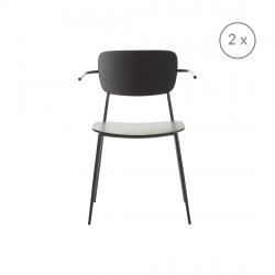 2er-Set Stühle mit Armlehne Pavia | Mattschwarz