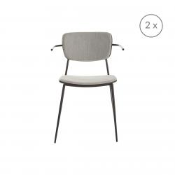 2er-Set Stühle mit Armlehne Pavia | Grau Mattschwarz