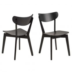 Dining Chair Roxby | Oak Wood | Black | Set of 2