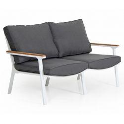 Sofa Olivet 2 Sitze | Weiß + Grau Kissen