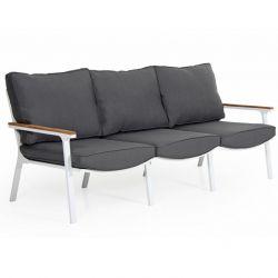 Sofa Olivet 3 Sitze | Weiß + Grau Kissen