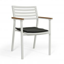 Stackable Armchair Olivet | White + Grey Cushion