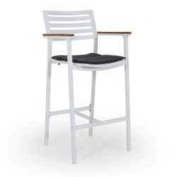Bar Stool Olivet | White + Grey Cushion