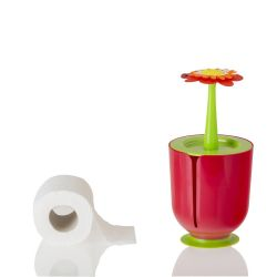 Porte-balai de Toilette Flower Power | Rouge
